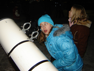 Girl at telescope